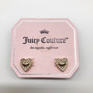 JUICY COUTURE Gold Heart Logo Earrings